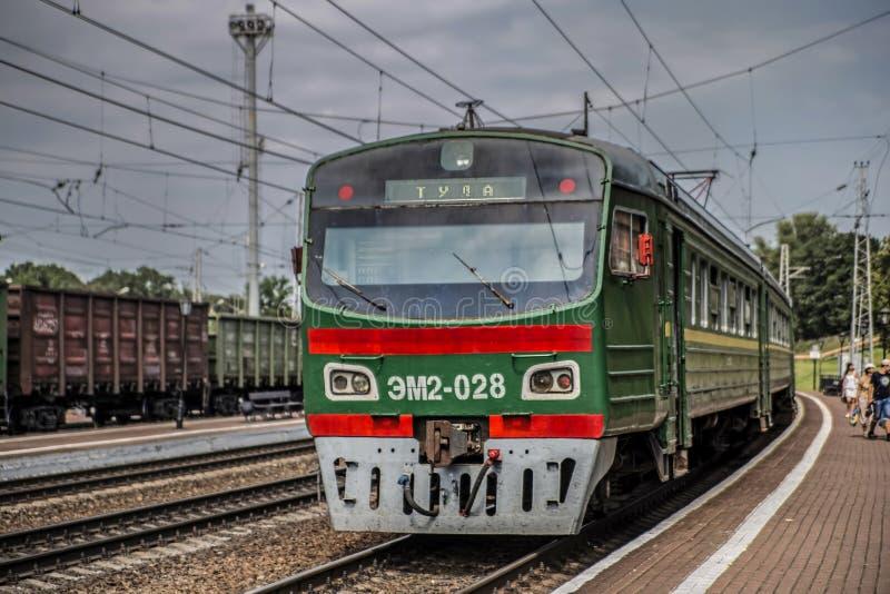 Trem para Tula - estação Kozlova Zaseka do museu em Yasnaya Polyana imagens de stock royalty free