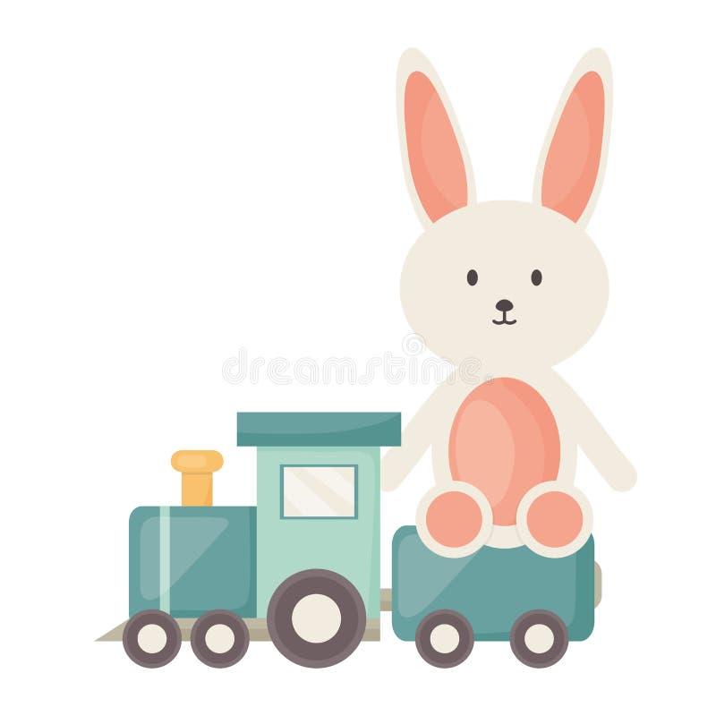 Trem pequeno com quadro dos brinquedos do coelho e o illustraitor quadrados do vetor dos elementos do aniversário ilustração royalty free