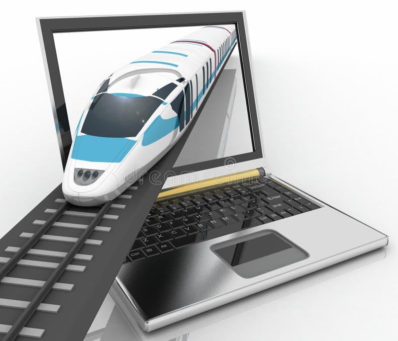 Trem que sai de um portátil ilustração stock