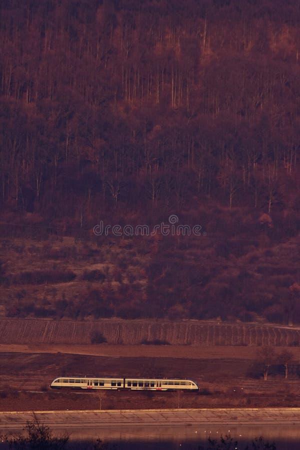 Trem que viaja através dos campos e das florestas fotografia de stock royalty free