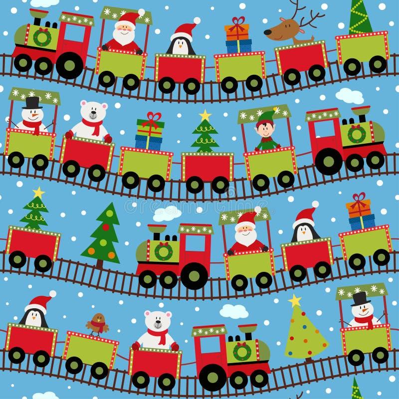 Trem sem emenda do teste padrão com caráteres do Natal ilustração royalty free
