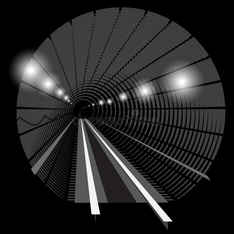 Trem subterrâneo do metro com luzes na trilha railway no túnel ilustração stock
