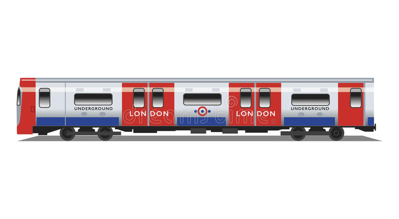 Trem subterrâneo do tubo de Londres ilustração stock