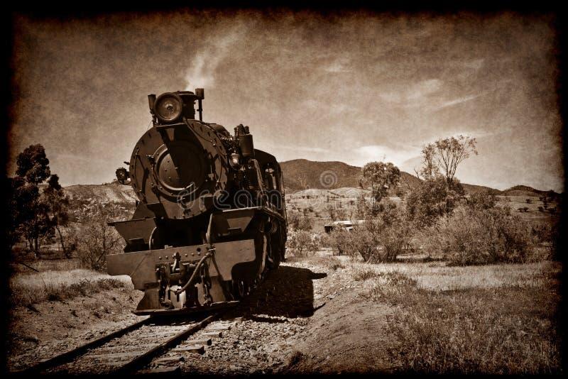 Trem velho do vapor no grunge fotografia de stock