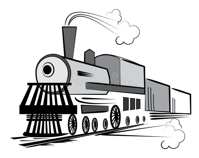 Trem velho do vetor ilustração stock