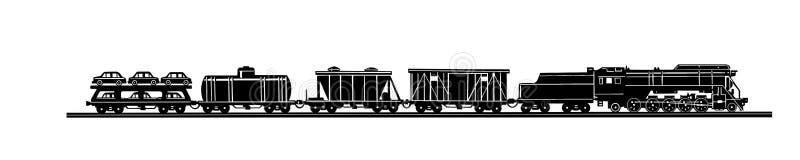 Trem velho no fundo branco ilustração royalty free