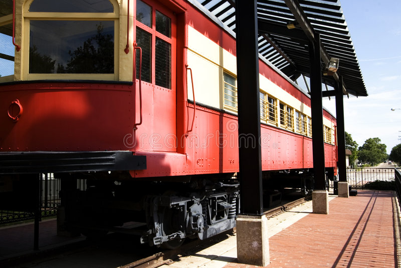 Trem velho no parque Haggard em Plano, TX fotografia de stock