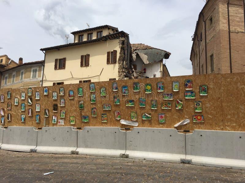Tremblement de terre dans Camerino image libre de droits