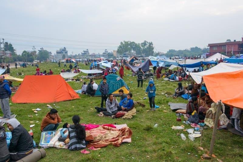 Tremblement de terre du Népal à Katmandou photos stock