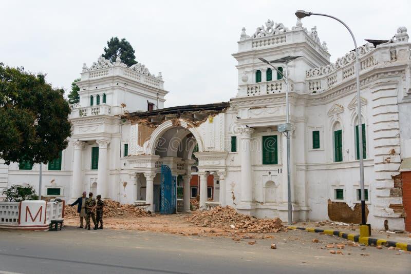 Tremblement de terre du Népal à Katmandou photographie stock