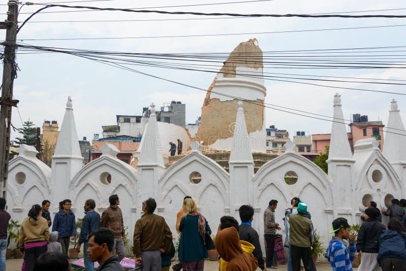 Tremblement de terre du Népal à Katmandou photo stock