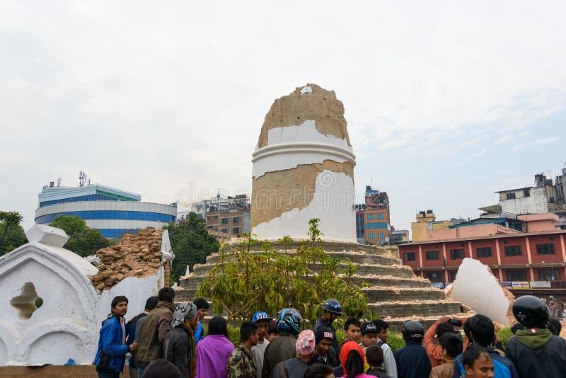 Tremblement de terre du Népal à Katmandou images libres de droits