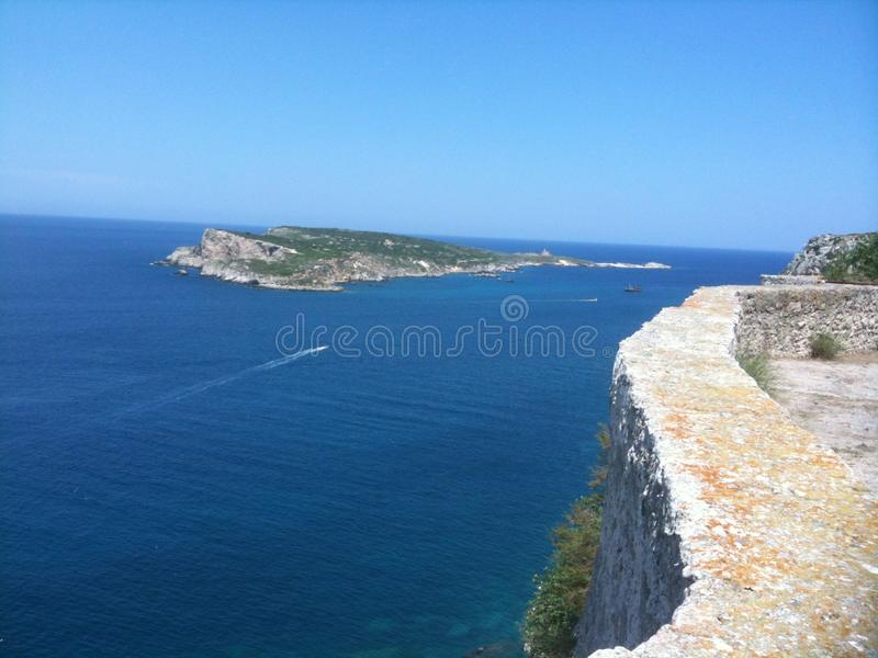 Tremiti island, one of this ( Cretaccio ) from the castle. Room, housese, shop, drink, coffee royalty free stock images
