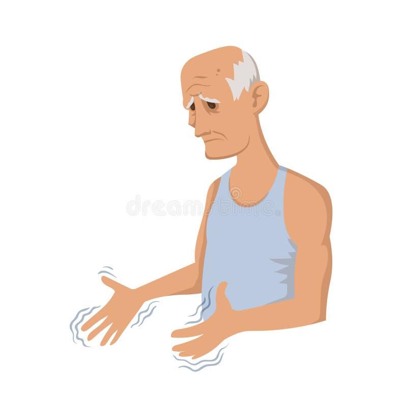 Tremor hands. Elderly man looking at the shaking hands. Symptom of Parkinson`s disease. Medical vector illustration. stock illustration