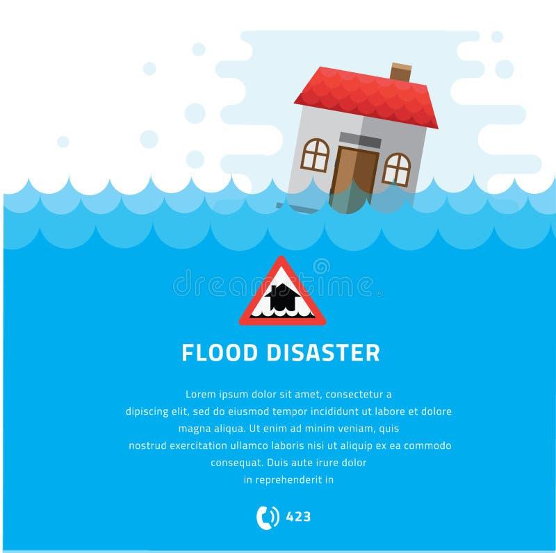 Trempage de construction sous l'illustration de vecteur de catastrophe d'inondation illustration de vecteur