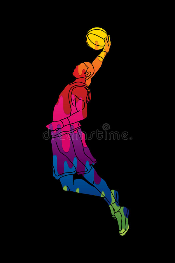Tremper de joueur de basket illustration stock