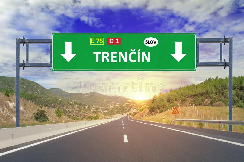 Trenčin road sign on highway. Close stock photos