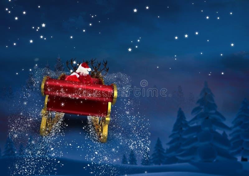 trenó da rena da equitação de 3D Papai Noel para o céu imagem de stock royalty free