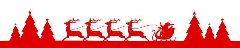 Trenó de corrida do Natal da bandeira com Forest Red ilustração royalty free