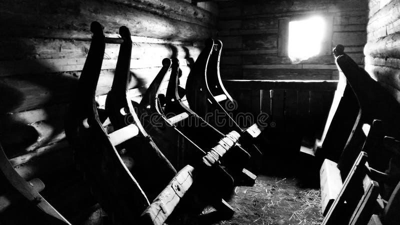 Trenó de madeira fotografia de stock