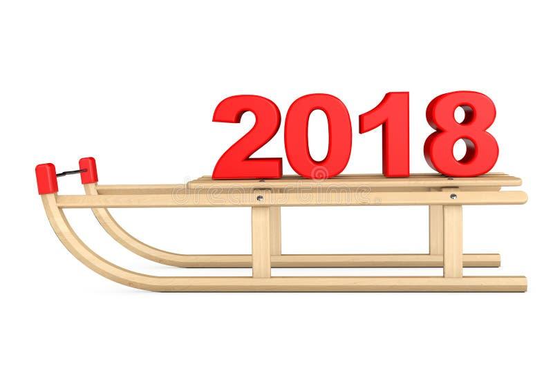 Trenó de madeira clássico com sinal do ano 2018 novo rendição 3d ilustração stock