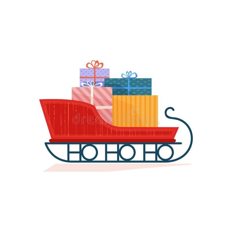 trenó de Natal com ícone de vetor de cor plano de presentes ilustração do vetor