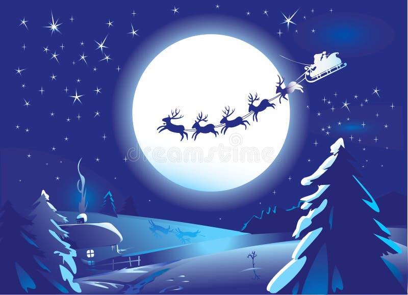 Trenó de Papai Noel ilustração do vetor