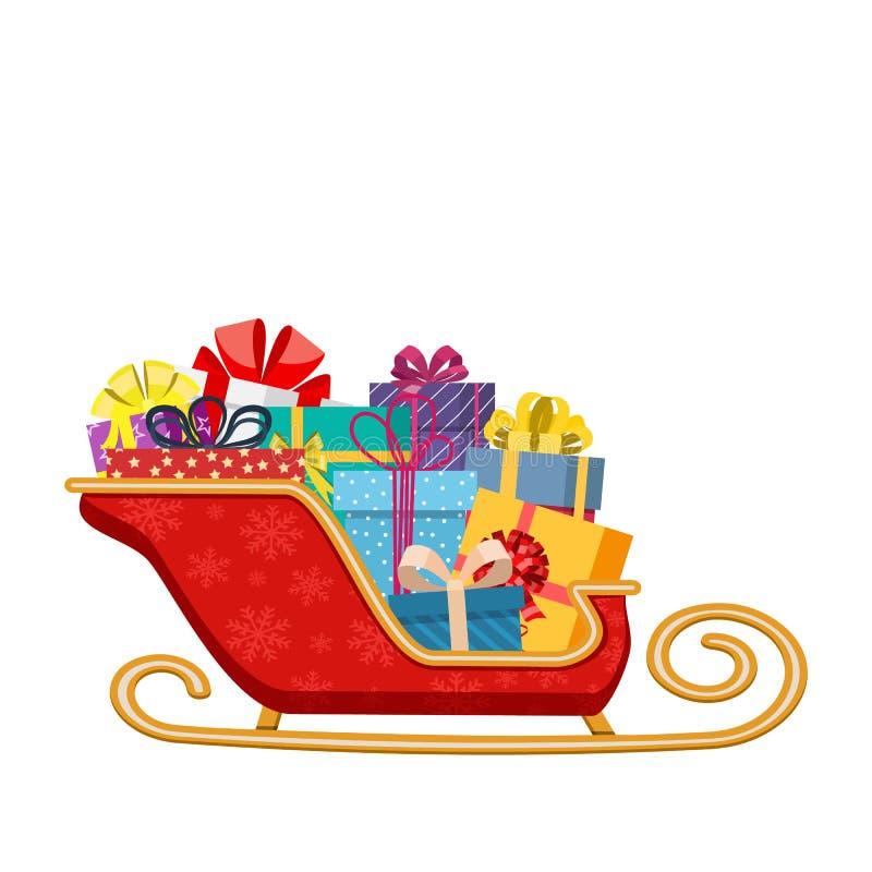 Trenó de Papai Noel com presentes ilustração do vetor