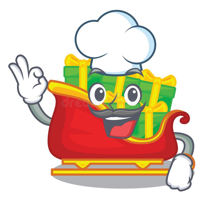 Trenó de Papai Noel do cozinheiro chefe em desenhos animados da forma ilustração stock