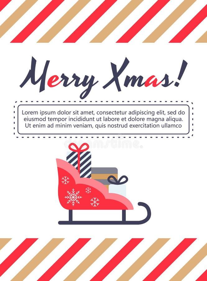 Trenó de Santa, cartão de presentes ilustração royalty free