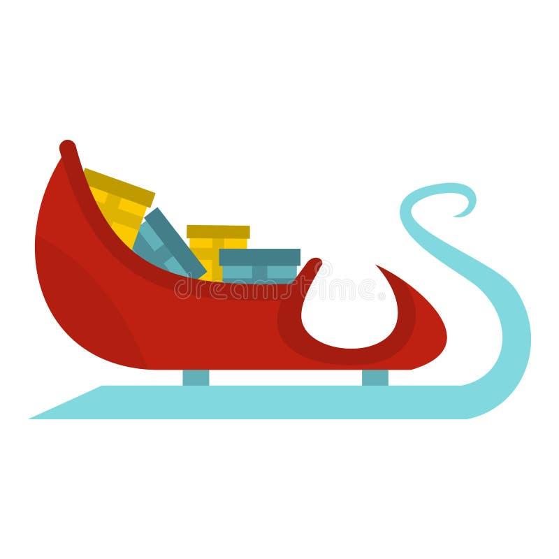 Trenó de Santa Claus com ícone dos presentes, estilo liso ilustração do vetor