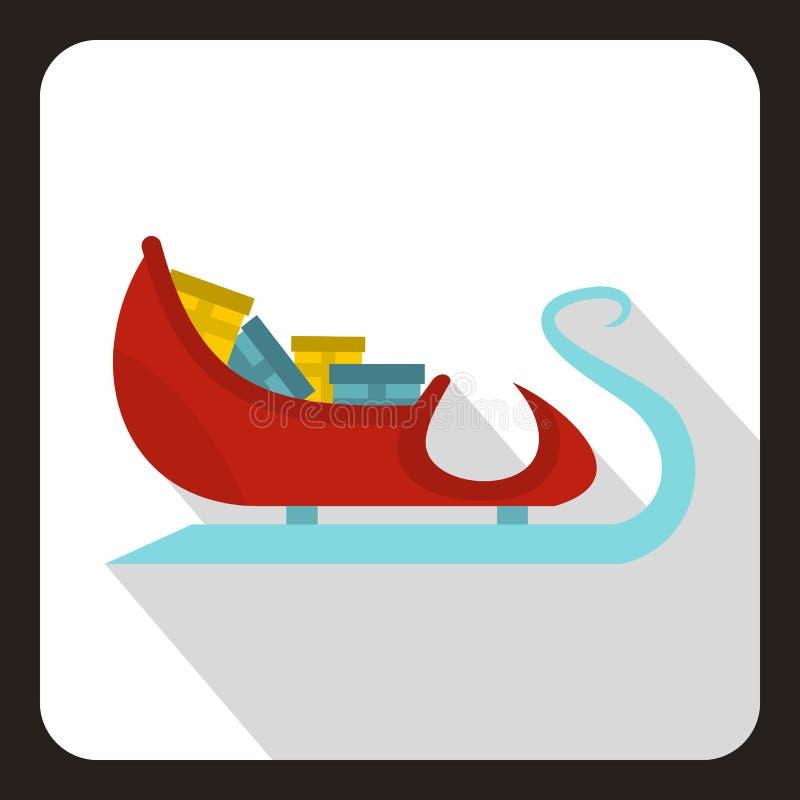 Trenó de Santa Claus com ícone dos presentes, estilo liso ilustração stock