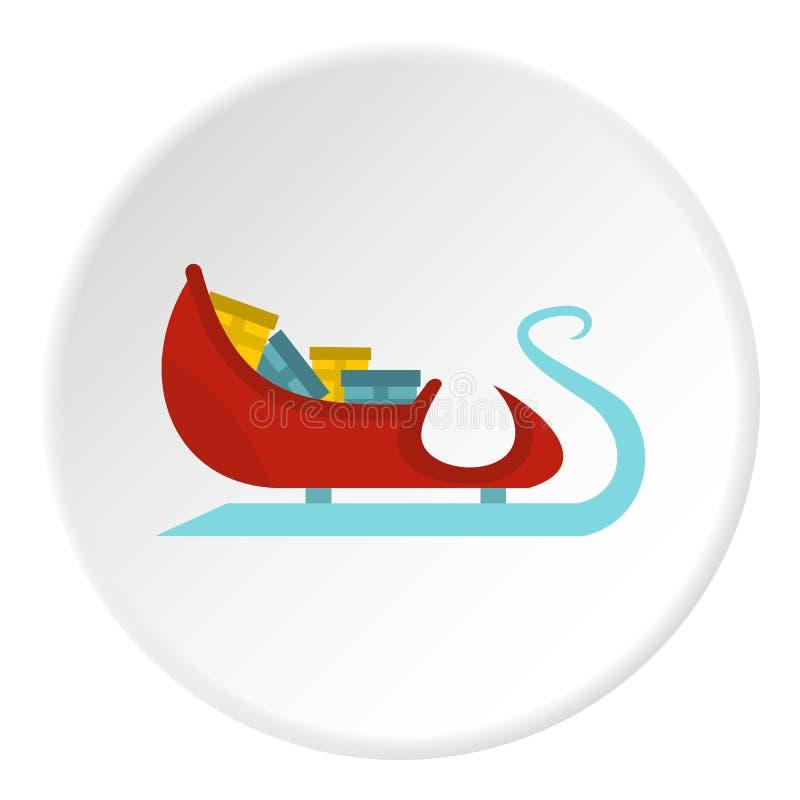Trenó de Santa Claus com círculo do ícone dos presentes ilustração do vetor
