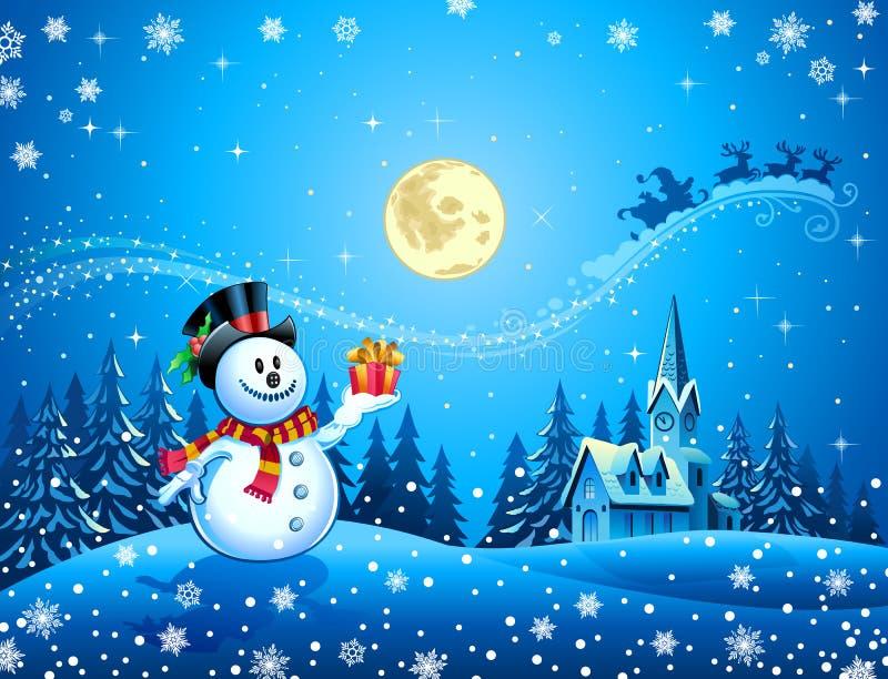 Trenó de Santa do anúncio do boneco de neve ilustração do vetor