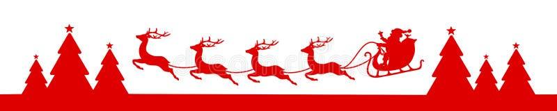 Trenó de voo do Natal da bandeira com Forest Red ilustração royalty free