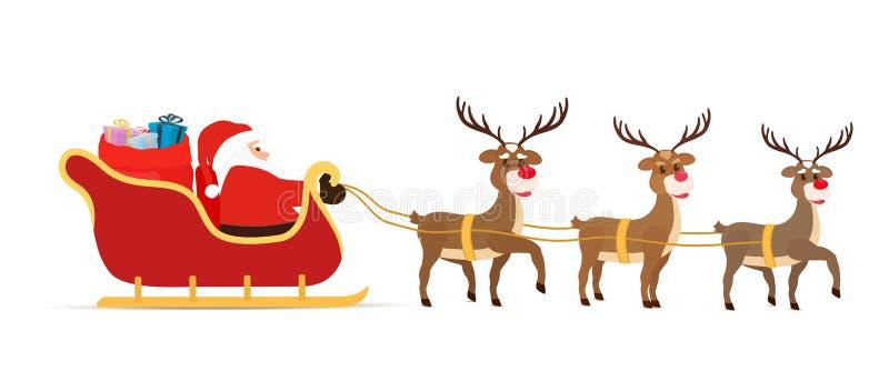 Trenó dos desenhos animados do vetor, renas, trenó com Santa Claus imagens de stock