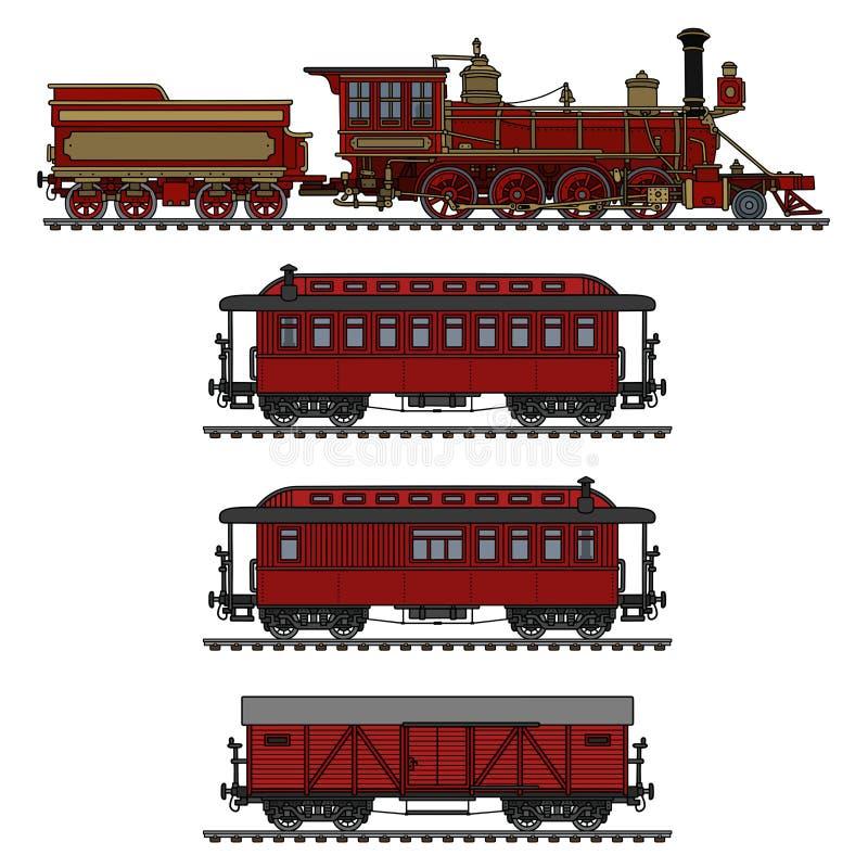 Tren americano rojo del vapor del vintage ilustración del vector