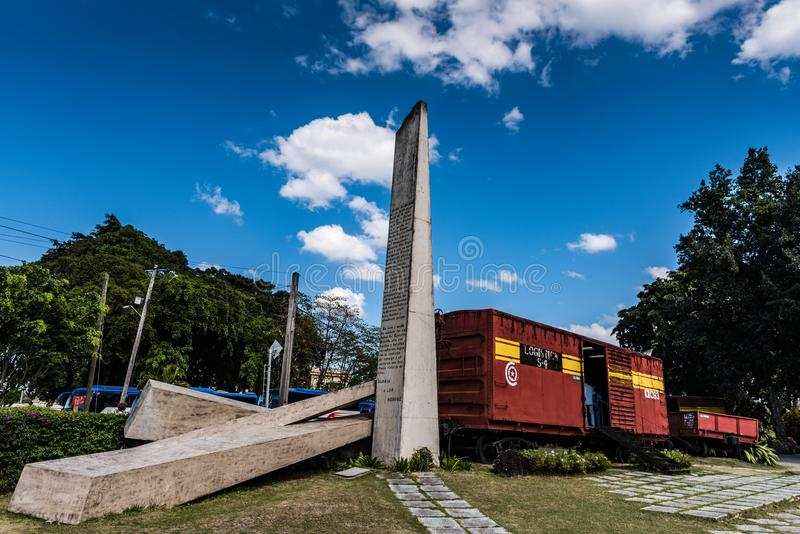 Tren Blindado Armoured Train Monument. Santa Clara, Cuba / March 16, 2016: The Tren Blindado is a national monument, memorial park, and museum of the Cuban royalty free stock image