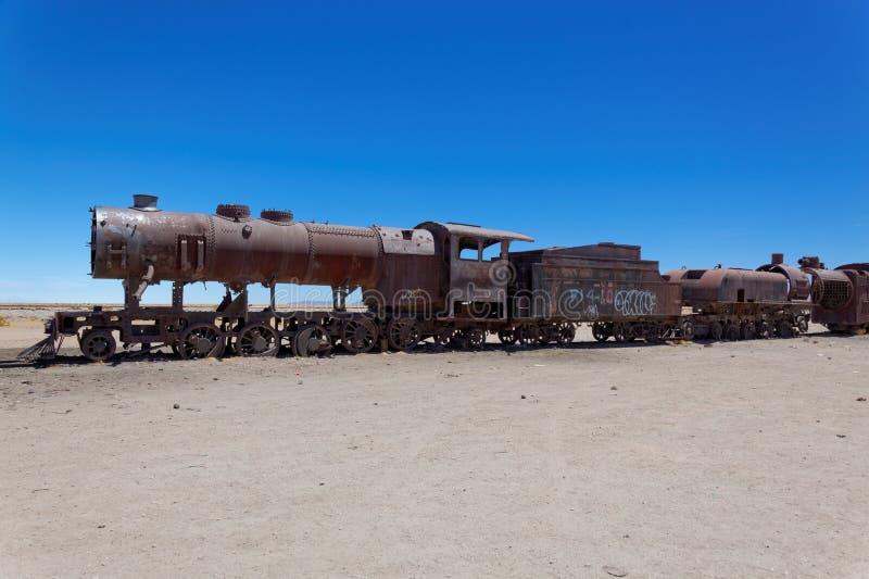 Tren Boneyard, Salar de Uyuni, Bolivia, Suramérica imágenes de archivo libres de regalías