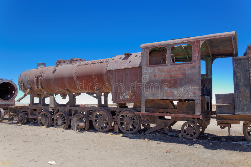 Tren Boneyard, Salar de Uyuni, Bolivia, Suramérica imagenes de archivo