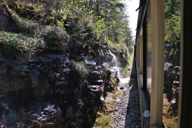 Tren cerca de la pared y de la cascada de la roca fotografía de archivo