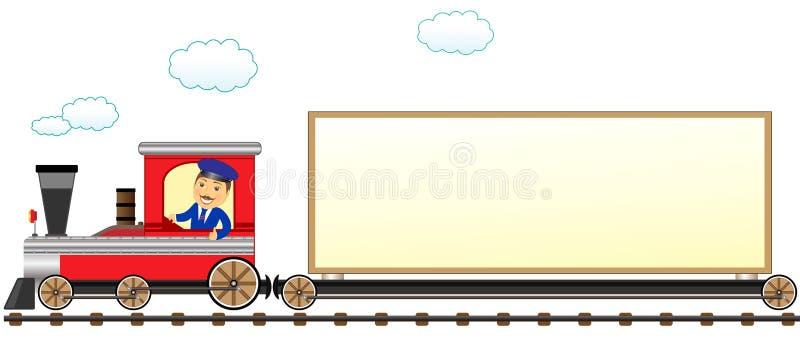 Tren con el conductor y espacio para el texto ilustración del vector