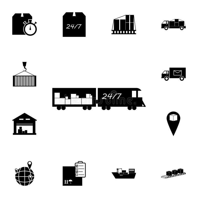 Tren con el icono del cargo Sistema detallado de iconos logísticos Icono superior del diseño gráfico de la calidad Uno de los ico stock de ilustración