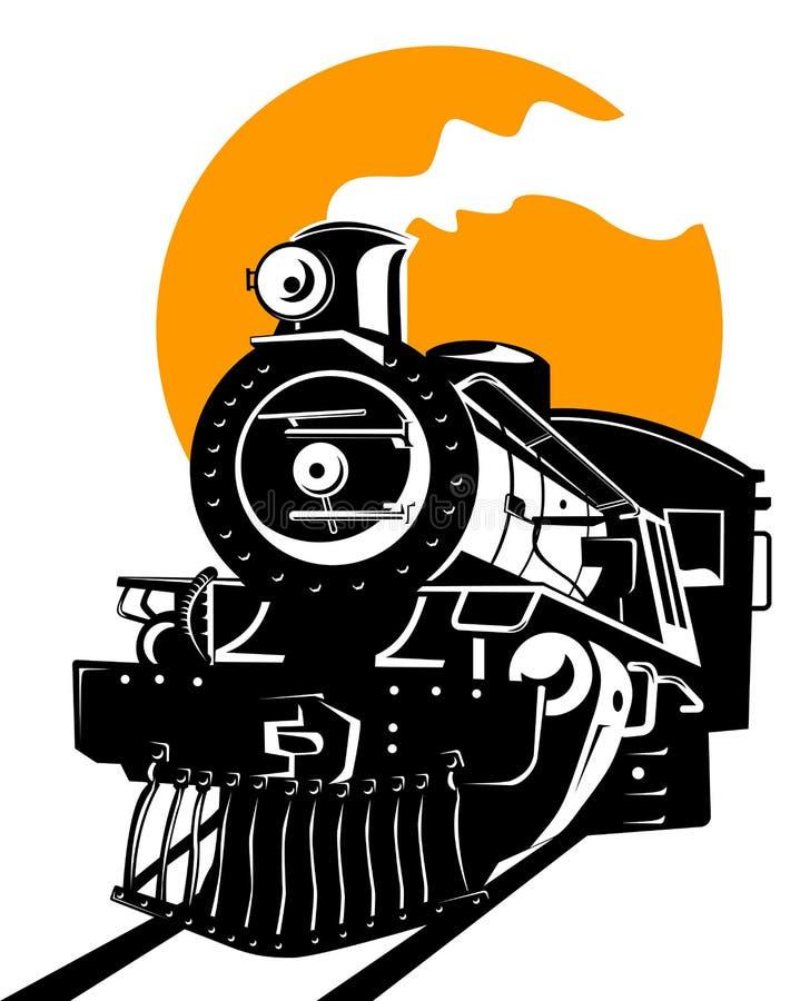 Tren con el sol stock de ilustración
