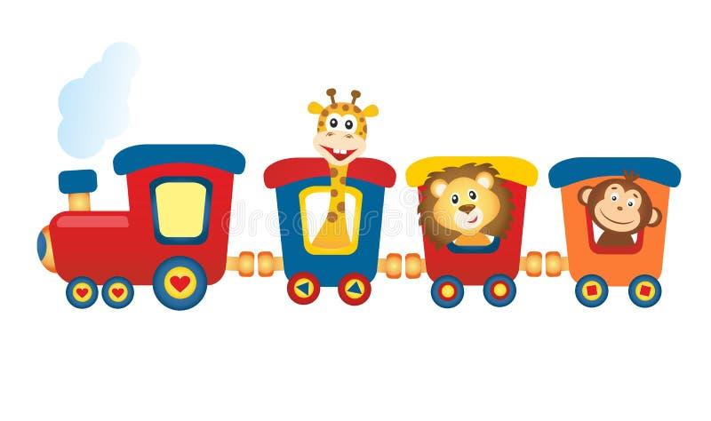 Tren con los animales ilustración del vector