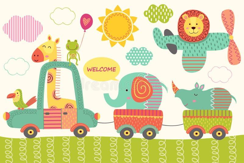 Tren con los animales de la selva del bebé stock de ilustración