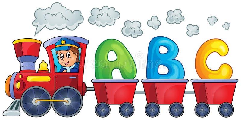 Tren con tres letras stock de ilustración