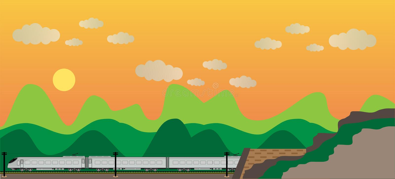 Tren de alta velocidad con Mountain View stock de ilustración