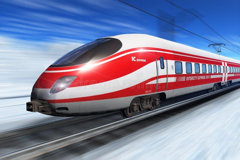 Tren de alta velocidad del invierno stock de ilustración