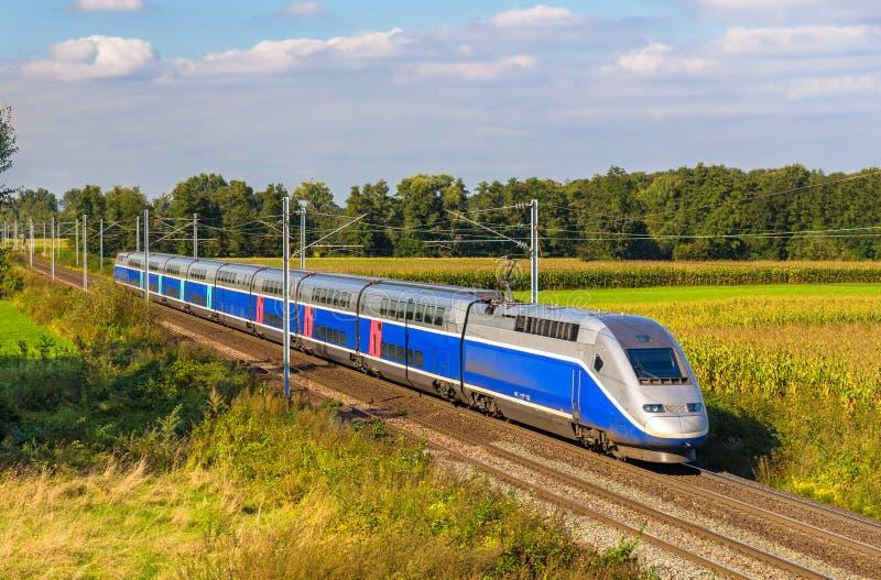 Tren de alta velocidad Estrasburgo - París, Francia fotografía de archivo libre de regalías